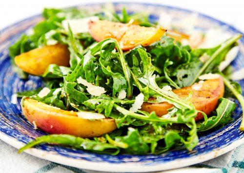 Grilled Peach Zest Arugula Salad